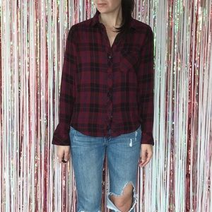 Rails Wine Black Metallic Plaid Hunter Button Down